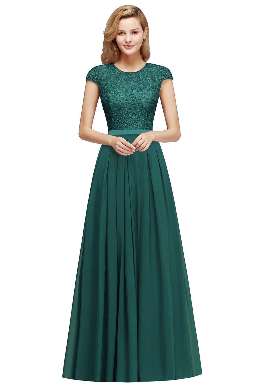 Lace Chiffon Burgundy Long Bridesmaid Dress