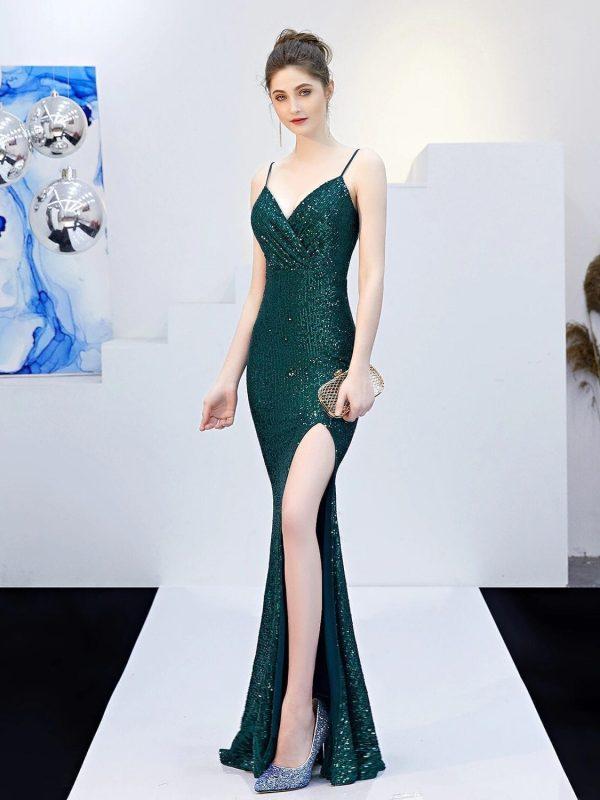 Navy Blue Spaghetti Straps Sequin Evening Prom Dress