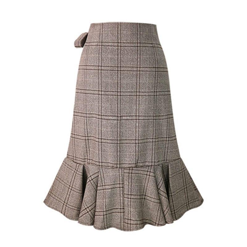 Plaid Pleated Hem Ruffles Irregular Bottom Skirt