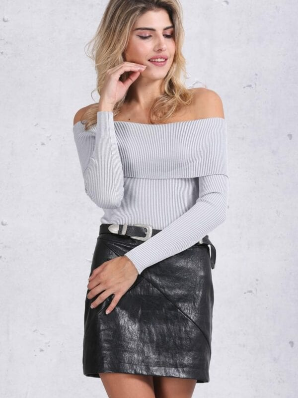 Gray Off Shoulder Bodycon Sweater