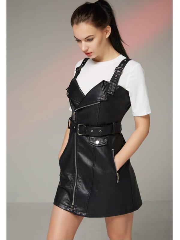 Turn-down Collar Retro Black Mini Dress