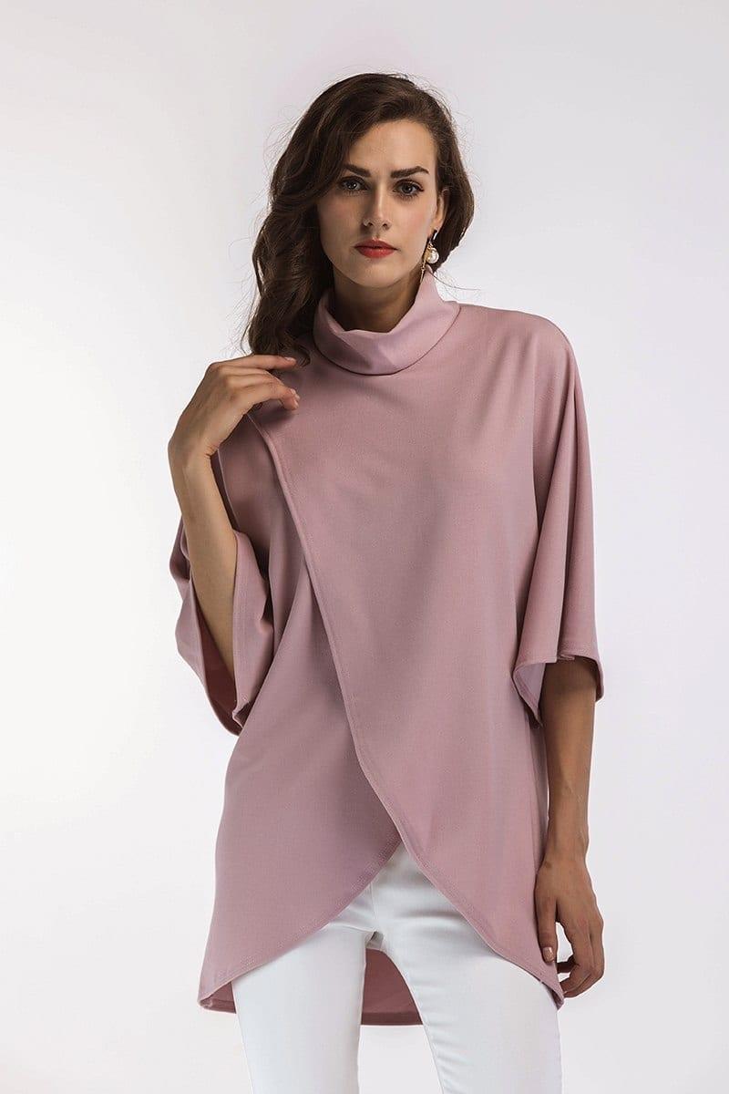 Pink Half Sleeve Irregular Front Split Turtleneck Elegant Loose Blouse
