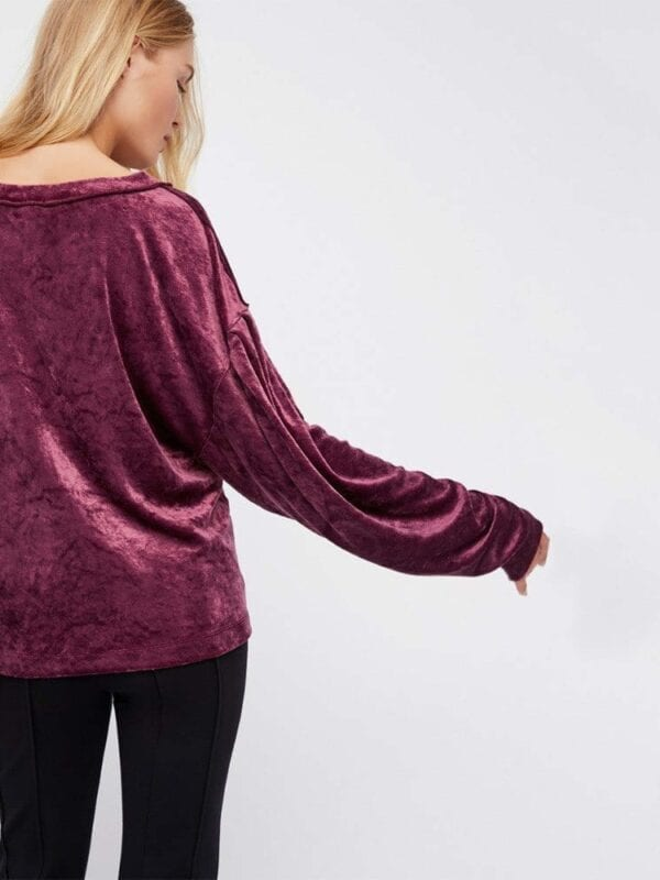 Purple Long Sleeve Velvet Hoodies Sweatshirt