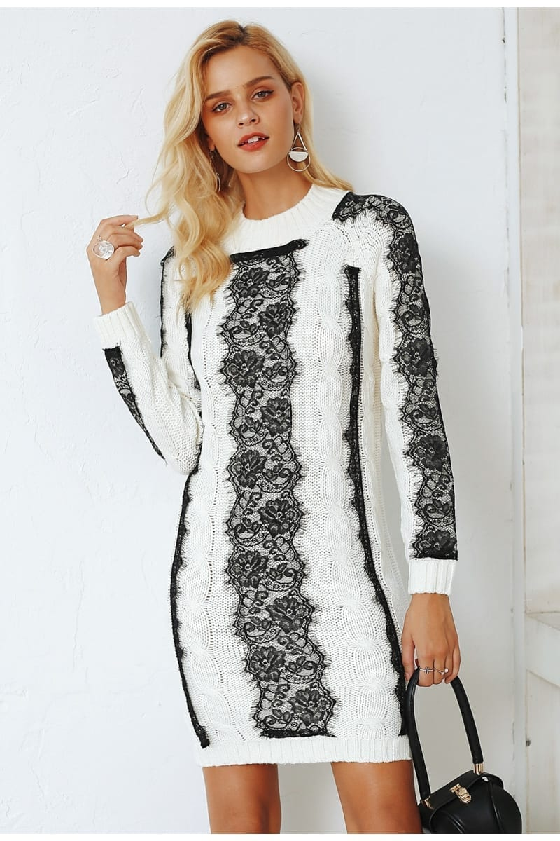 O Neck Twist Knitted Sweater Dress