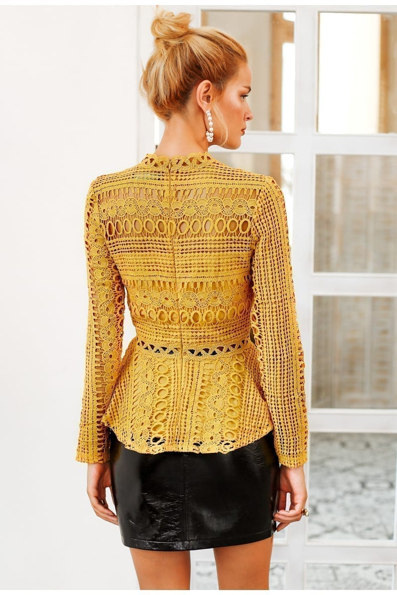 Elegant Lace Hollow Out Peplum Ruffles Long Sleeve Yellow Blouse Shirt