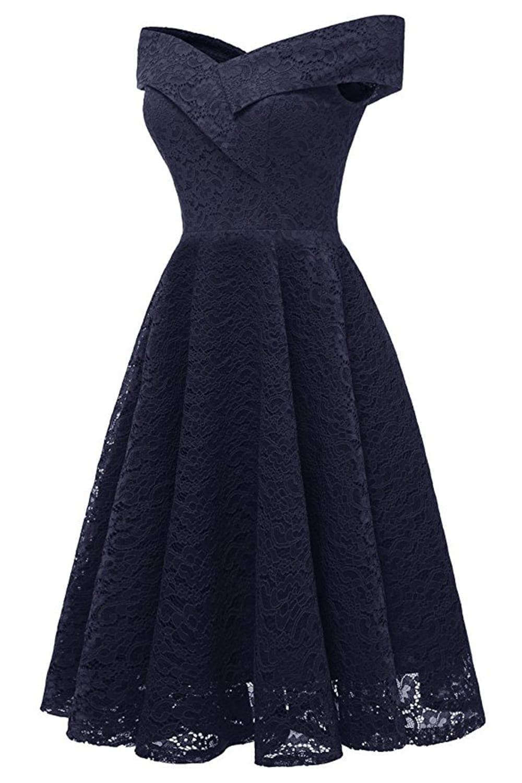 Elegant A-line V-neckline Lace Cocktail Dress
