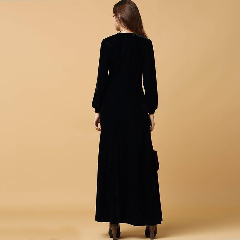 Black Velvet Long Sleeved Plunge Neck Maxi Dress