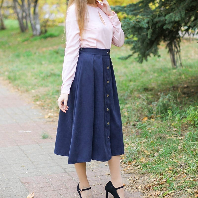 Pleated Button High Waist Elastic Mid Skirt