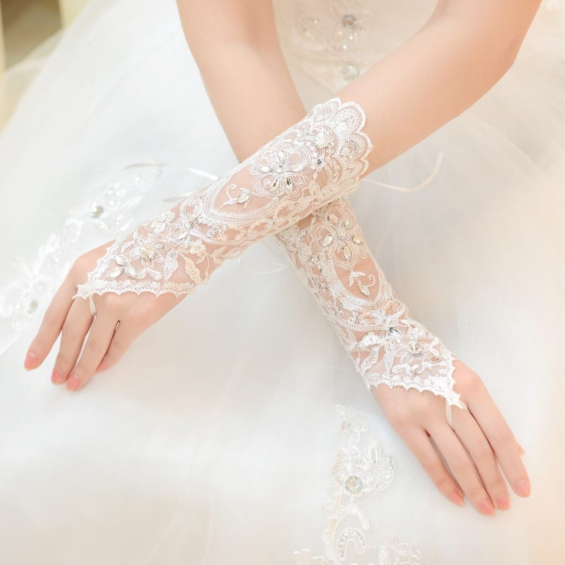 White Ivory Fingerless Rhinestone Lace Sequins Short Wedding Gloves Wedding Accessories