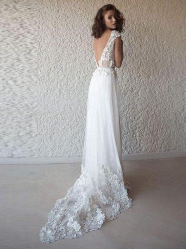 White Appliques Lace V Neck Long Backless Boho Beach Wedding Dress