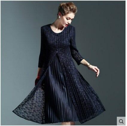Vintage Elegant Lace Patchwork O Neck Knee-length Dress