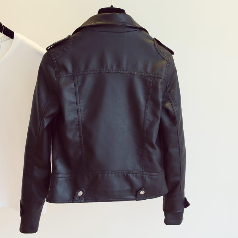 Black Pink Rivet Zipper Pu Soft Leather Motorcycle Jacket