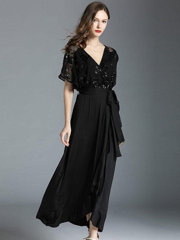 Black V-neck Butterfly Sleeve Ankle-length Dress