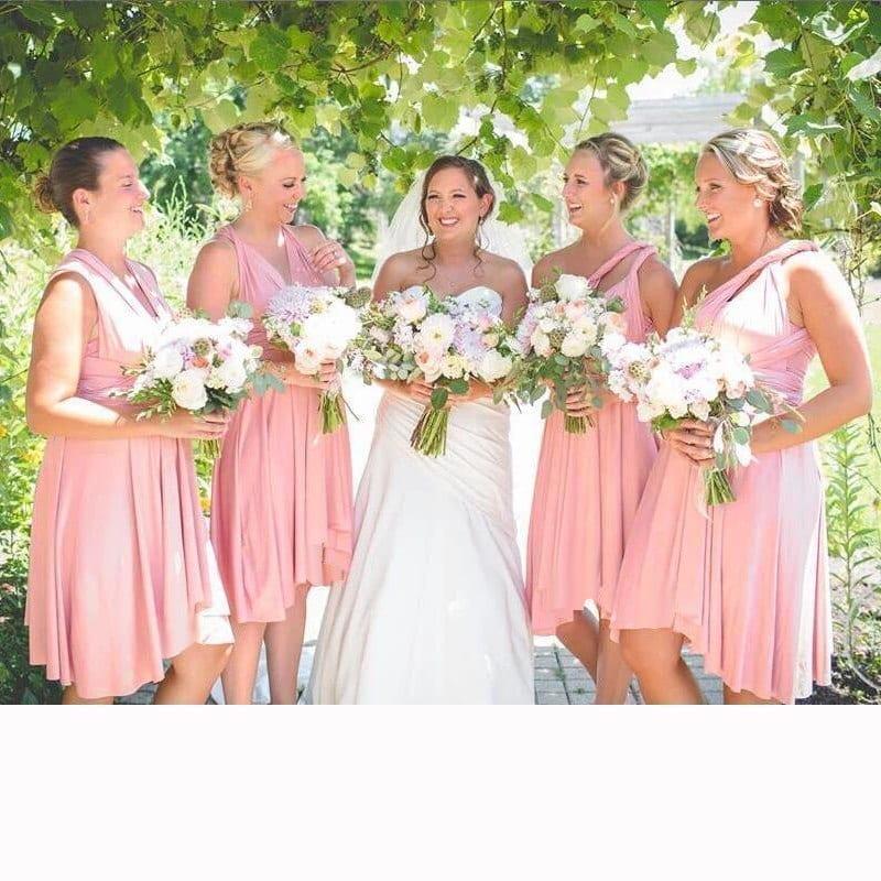 Blush Pink Wrap Dress With Sleeves Knee Length Bridesmaid Dress