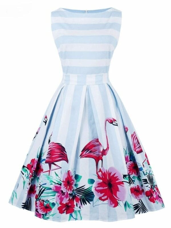 Vintage Flamingo Print Swing Dress