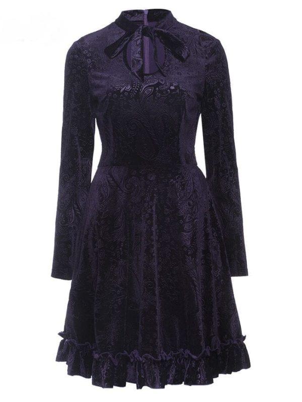 Bow Collar Long Sleeve A-line Hollow Printed Velvet Elegant Dress