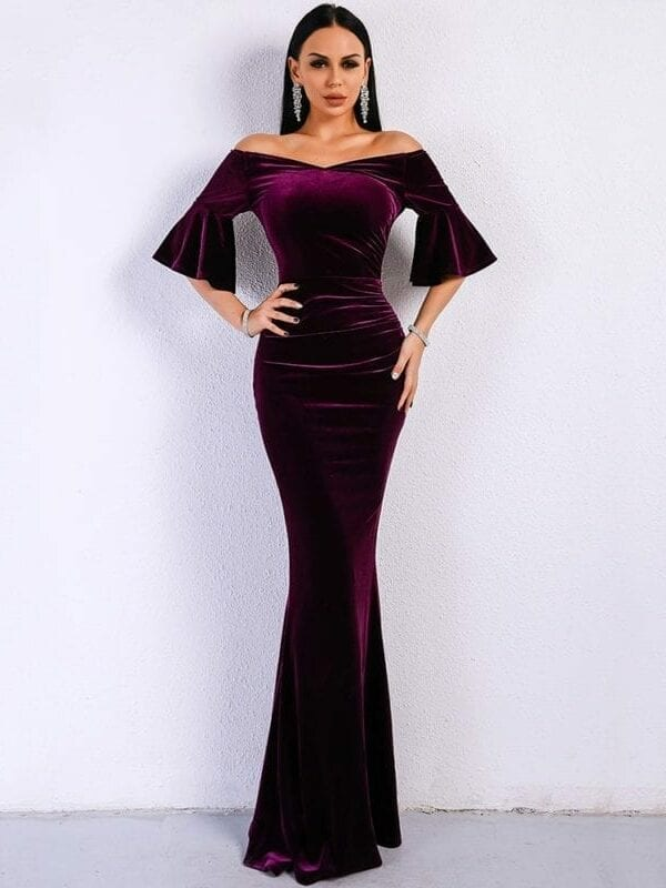 Purple Off Shoulder Velvet Bodycon Elegant Dress