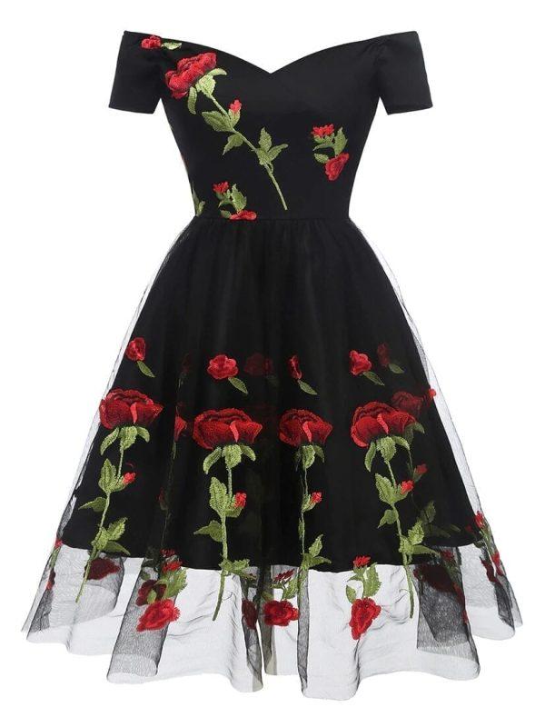 Vintage Off Shoulder Embroidered Floral Black Dress