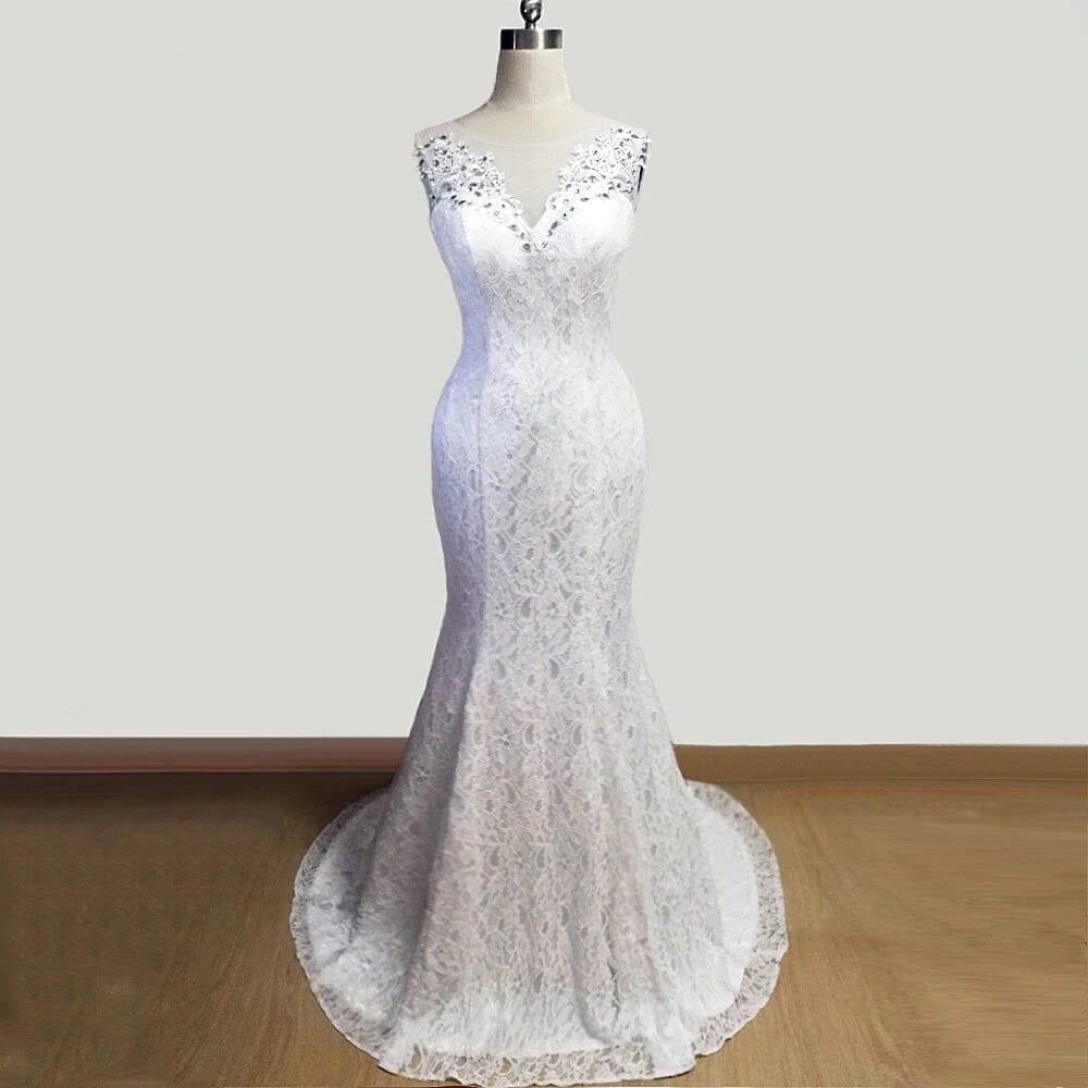 White Lace Lace Up Back Beaded Mermaid Wedding Dress