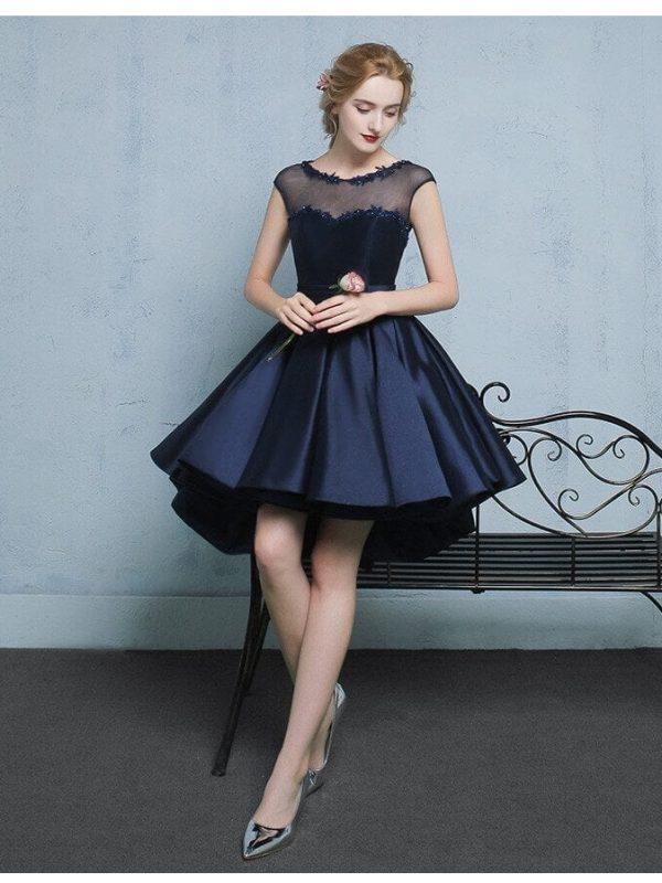 Elegant Satin Navy Blue Sleeveless Cocktail Dress
