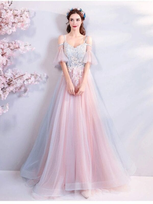 Elegant Off The Shoulder Tulle Long Bridesmaid Dress