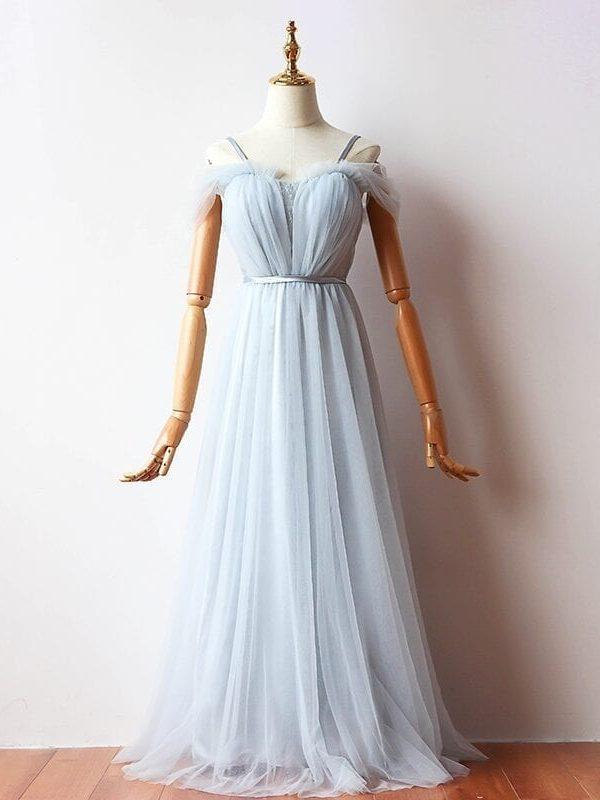 Elegant A-line Long Tulle Bridesmaid Dress