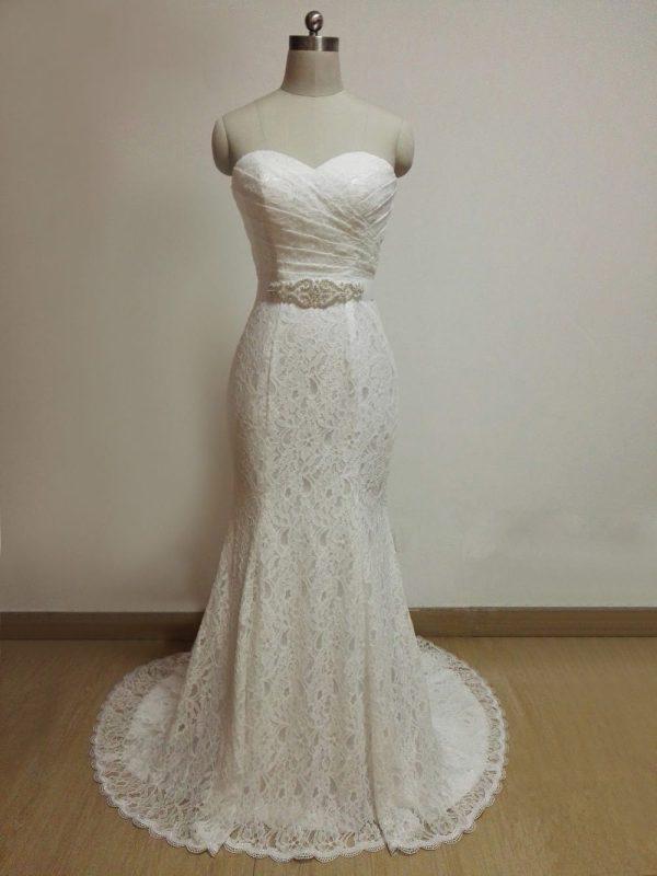 White Lace Sash Sweetheart Lace Up Back Mermaid Wedding Dress