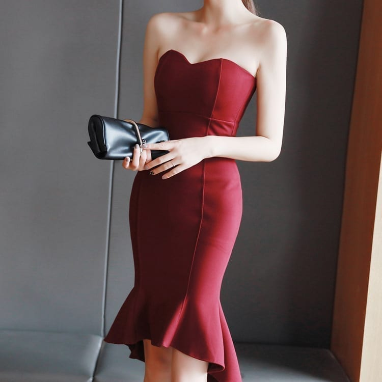 Vintage Strapless Sleeveless Bandage Bodycon Mermaid Midi Dress