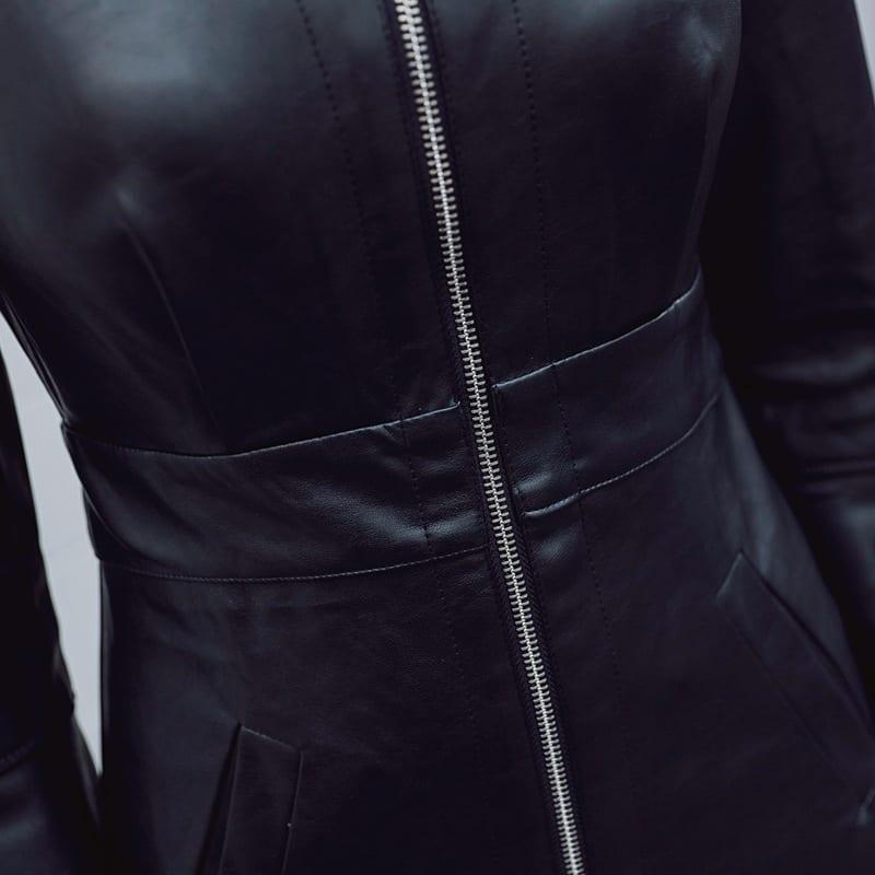 Black Zipper Sheath V Neck Long Sleeve Synthetic Leather Bodycon Dress