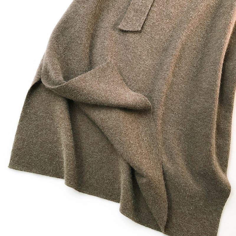 Elegant High Waist Split Knit Skirt