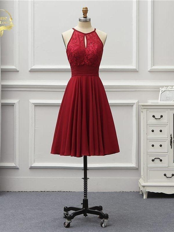 Elegant Halter Lace Knee Length Cocktail Dress