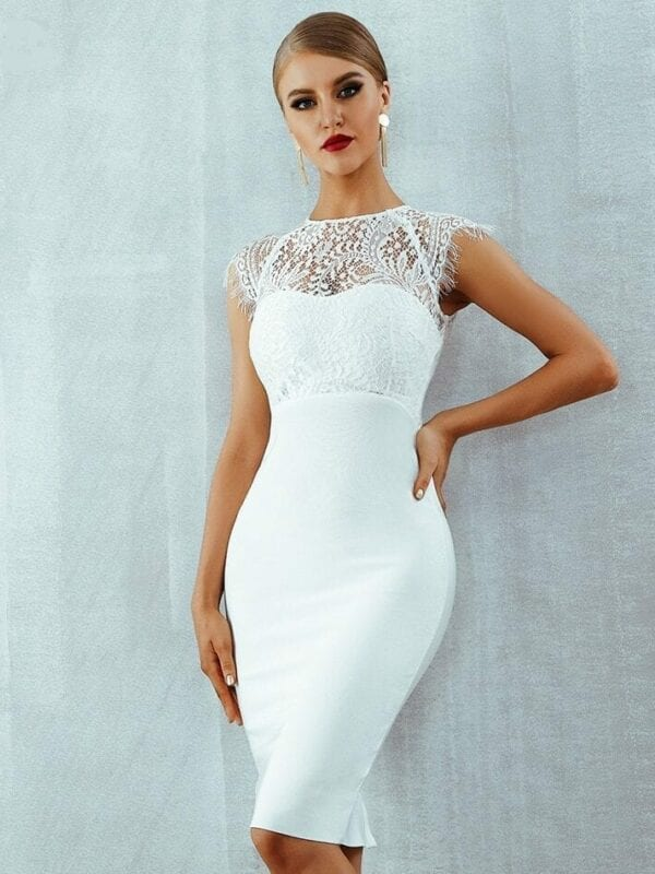 White Lace Short Sleeve Hollow Out Midi Bandage Dress