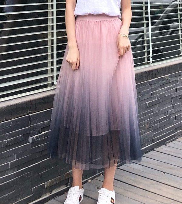 Gradient Color Tulle High Waist Pleated A-line Skirt