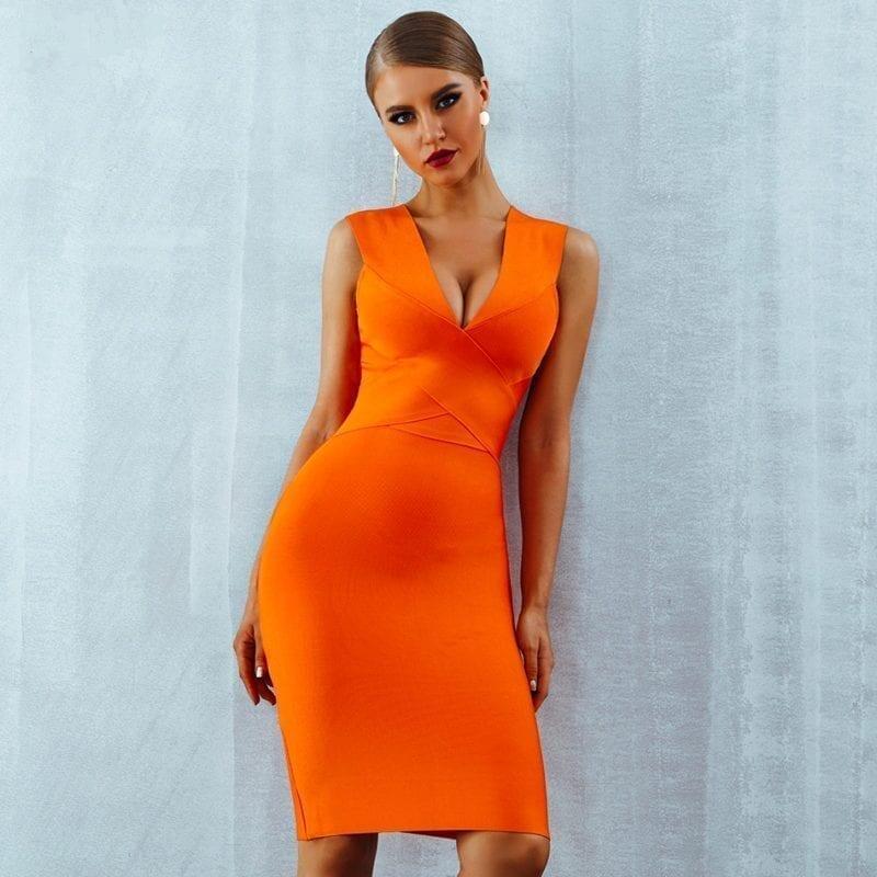 Orange Deep V-neck Sleeveless Bodycon Bandage Dress