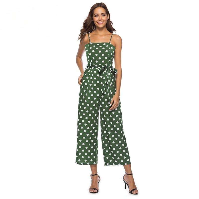 Vintage Bow Polka Dot Strap High Waist Sleeveless Wide Leg Jumpsuit