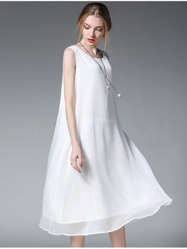 Retro Sleeveless White Long Tank Dress