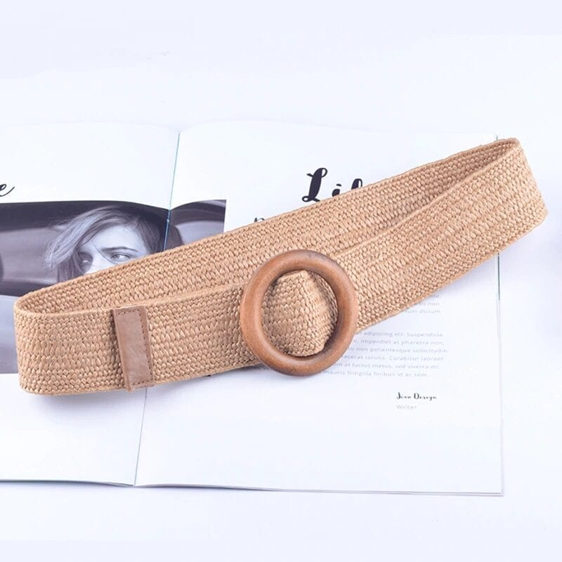 Wooden Button Elastic Straw Belt Accessories