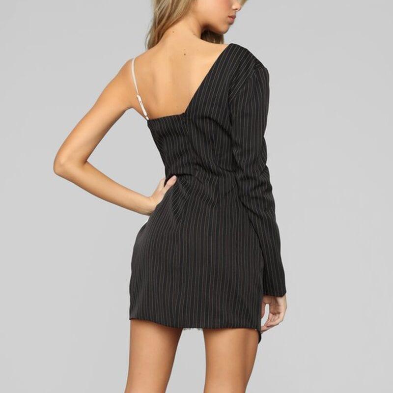 One Shoulder Satin Striped Lace Elegant Dress