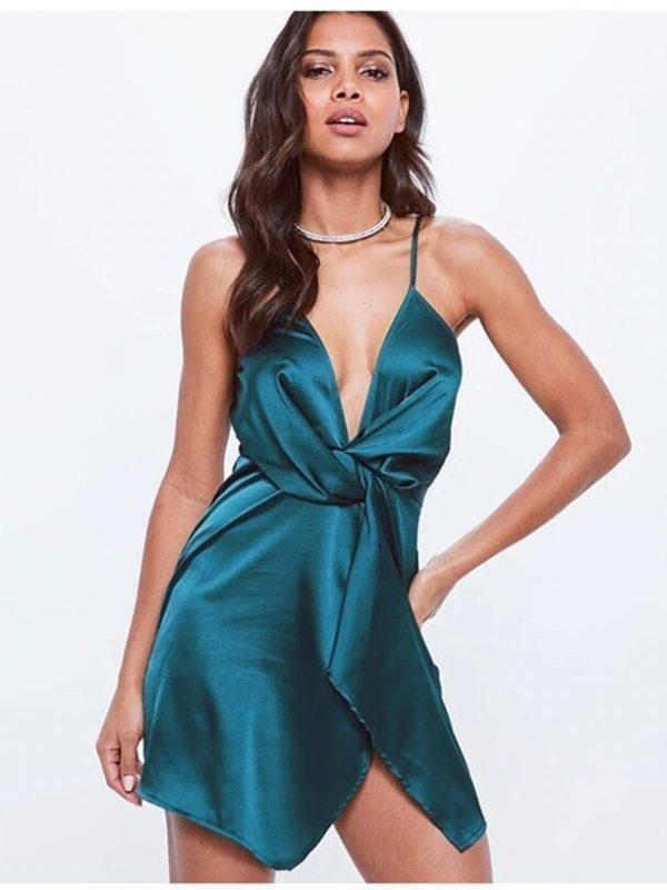 Elegant Deep V-neck Satin Waist Knotted Irregular Mini Dress