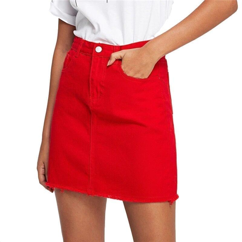 Frayed Hem Pockets Denim Red Mid Waist A Line Skirt