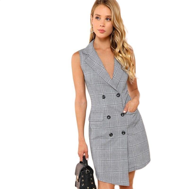 V Neck Wrap Button Pockets Vintage Dress