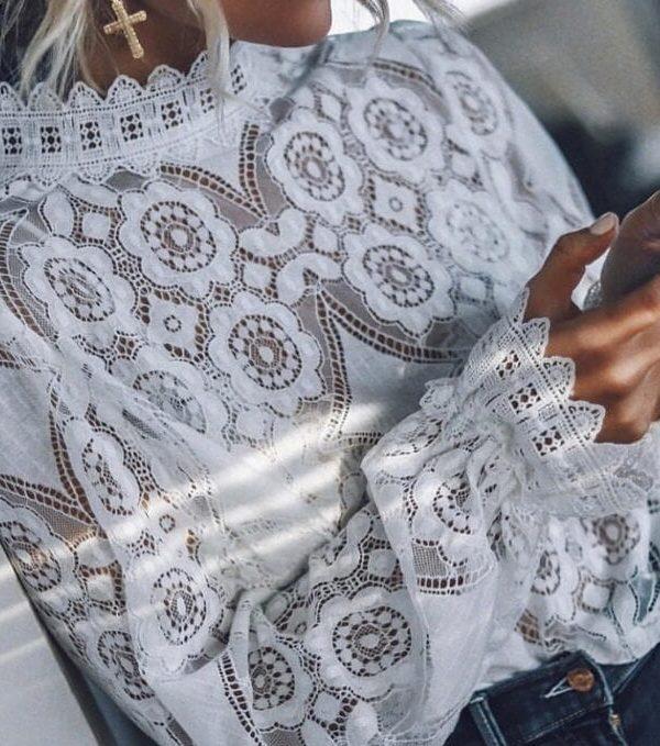 Elegant White Lace Hollow Out Long Lantern Sleeve Blouse Shirt