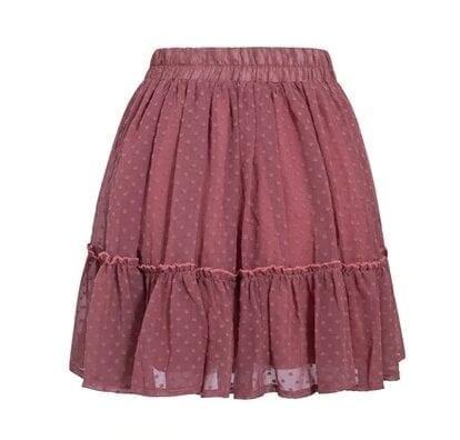 Polka Dot High Waist A Line Tassel Pink Mini Skirt