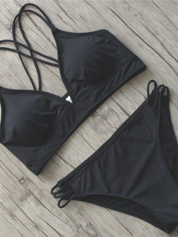 Black Padded Halter Women Swimsuit