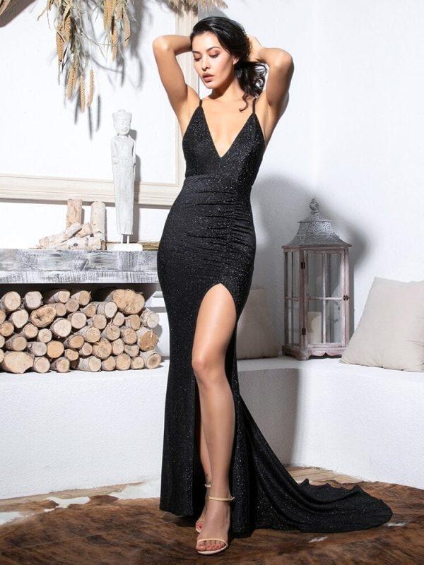 Black Deep V-neck Cut Out Bodycon Shiny Elastic Maxi Dress