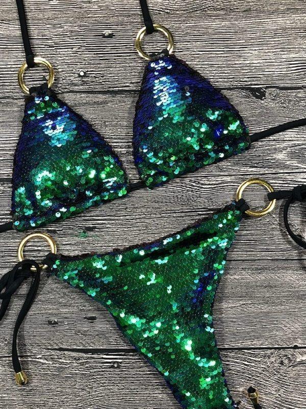 Halter Bling Sequin Bikini Set