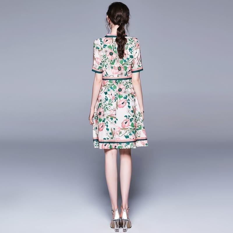 Vintage Elegant Long Sleeve Belted Collar Floral Print Dress