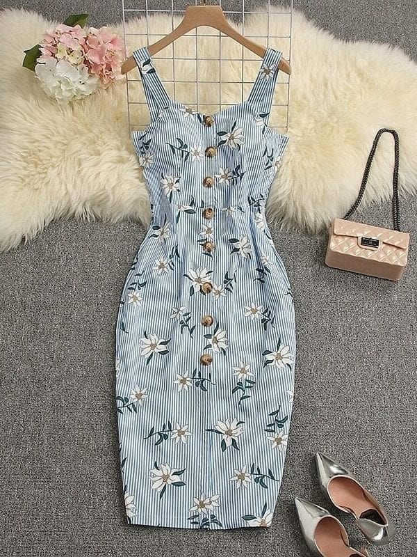 Single Breasted Middle Slit High Waist Padded Tank Dress