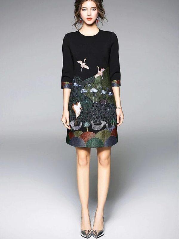 Vintage Embroidery 3/4 Sleeve Office Dress
