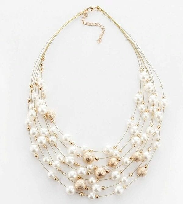 Gold Silver Multi Layer Chains Wedding Bride Necklace